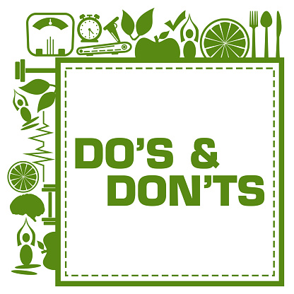 Dos And Donts Green Health Concept Symbols Frame Corners
