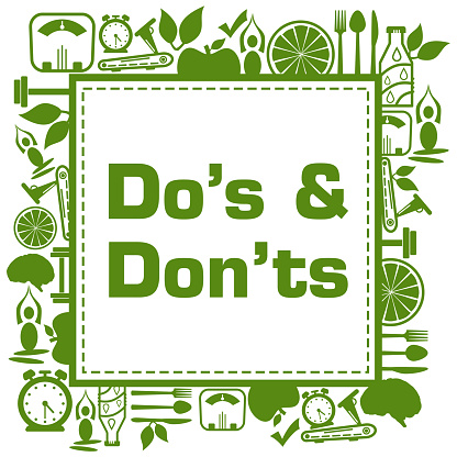 Dos And Donts Health Symbols Green Surrounded Square