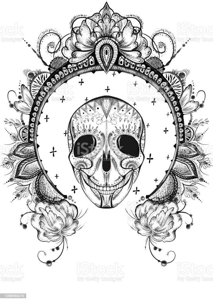 Dot Work Black And White Illustration Of A Skull With A Frame ...