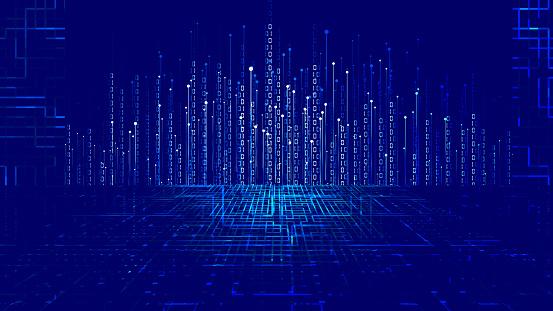 Dotted line, 01 binary data, Internet big data background.