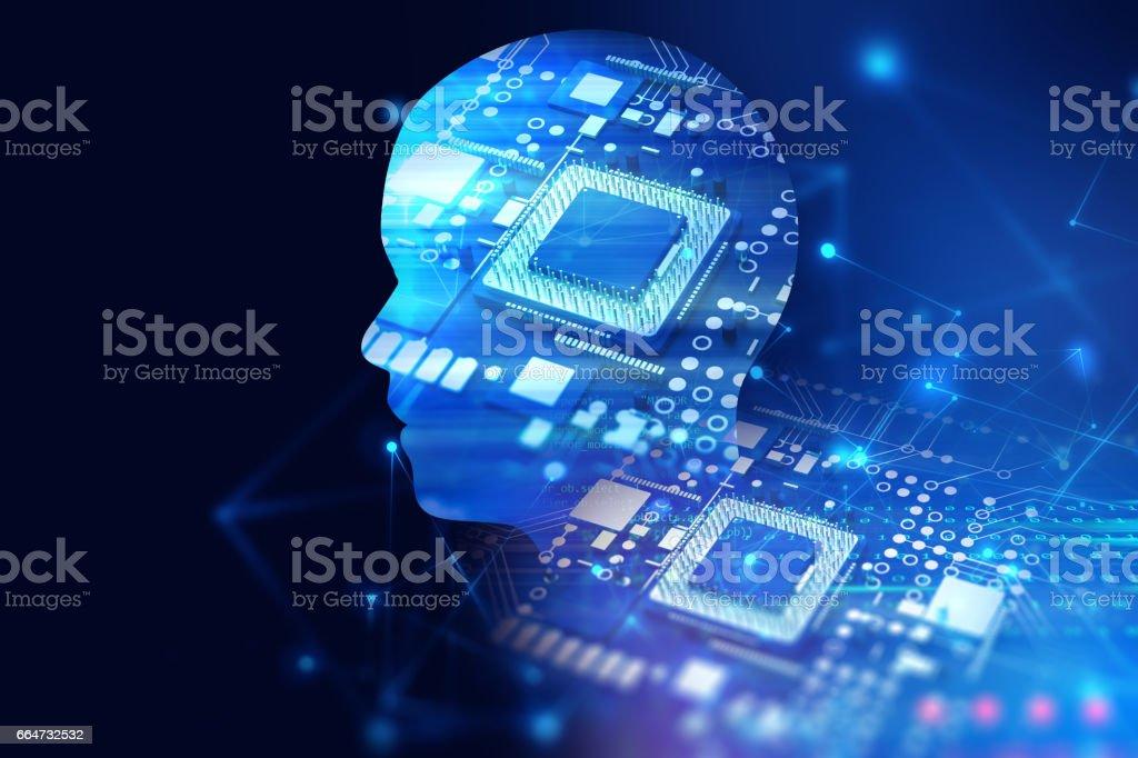 double exposure image of virtual human head 3d illustration vector art illustration