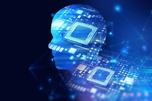 仮想人間の二重露出画像 3 d イラストを頭 - 人工知能点のイラスト素材/クリップアート素材/マンガ素材/アイコン素材