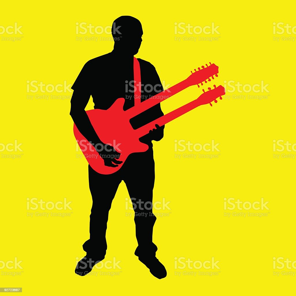 Double Neck Guitarist (vector & 300dpi) vector art illustration