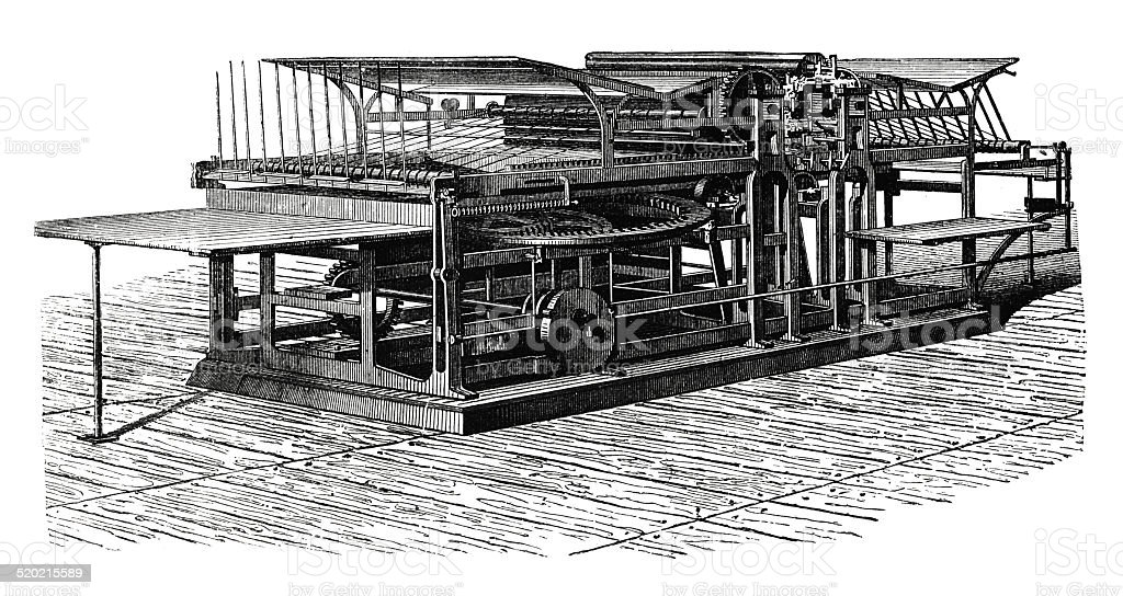 Double printing press (antique engraving) vector art illustration