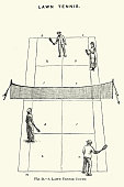 istock Doubles lawn tennis court, Victorian 19th Century 1257393644