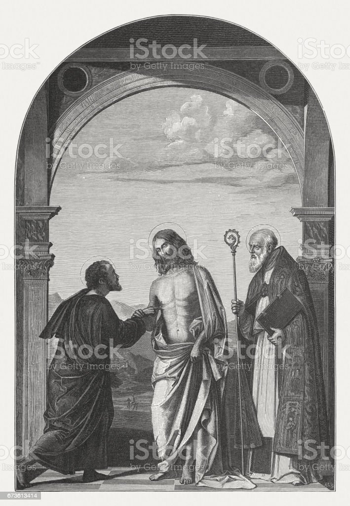 Doubting Thomas, painted (c.1505) by Cima da Conegliano, Venice, Italy vector art illustration