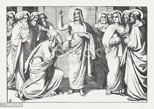 The risen Christ and the unbelieving Thomas (John 20, 24 - 29). Wood engraving after a drawing by Friedrich Giessmann (German painter, 1810 - 1847), published in 1850.