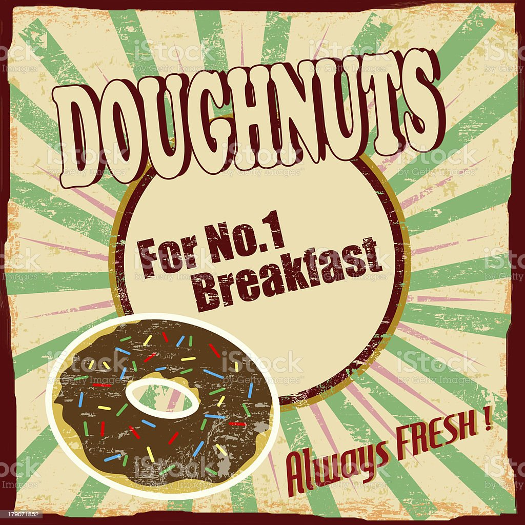 Doughnuts vintage poster royalty-free doughnuts vintage poster stock vector art & more images of breakfast