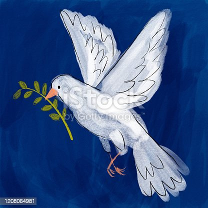 istock Dove holding olive branch 1208064981