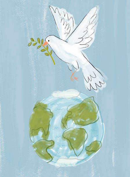 Dove of Peace Over Earth vector art illustration