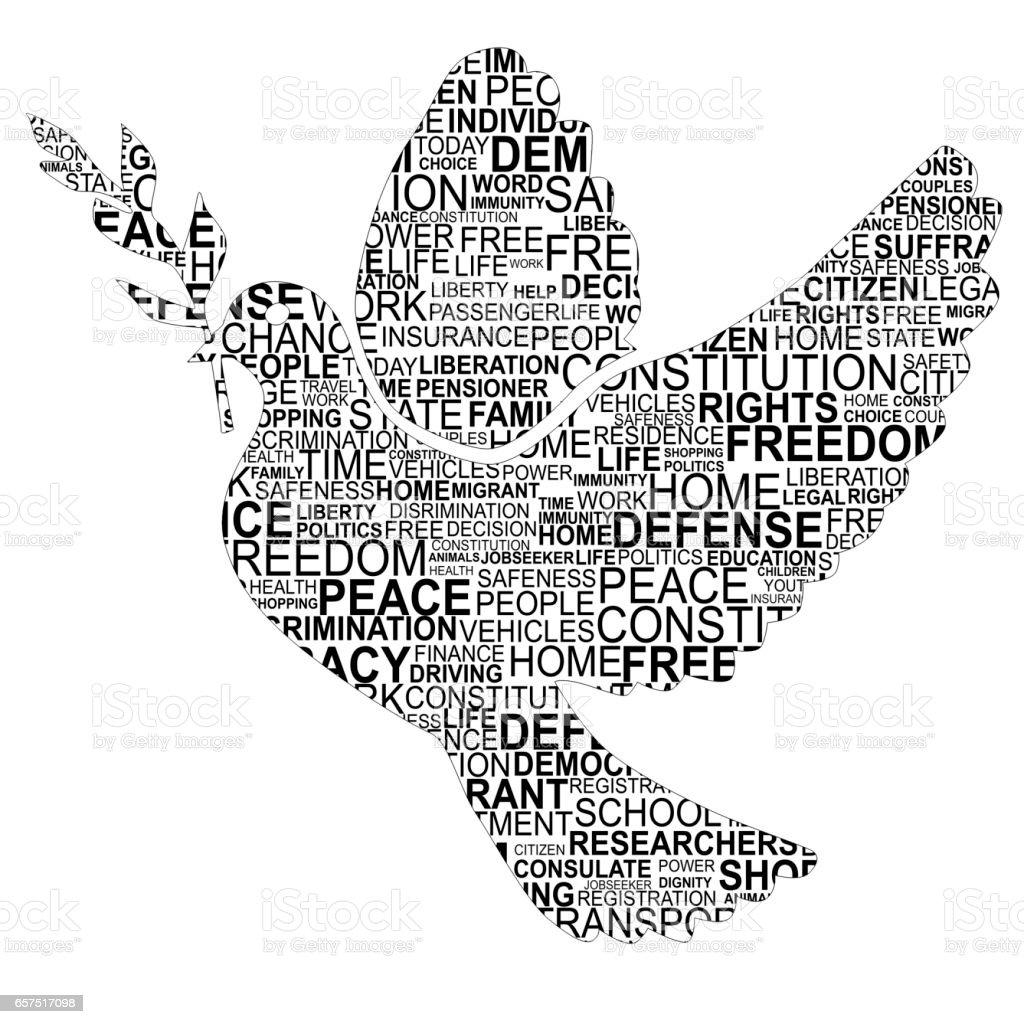 Dove shape for human rights vector art illustration