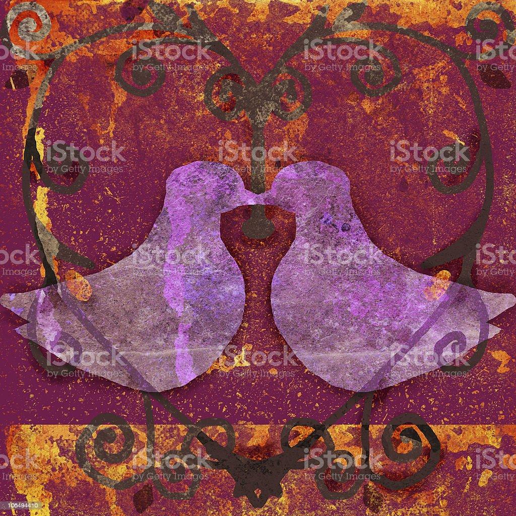 doves in heart royalty-free stock vector art