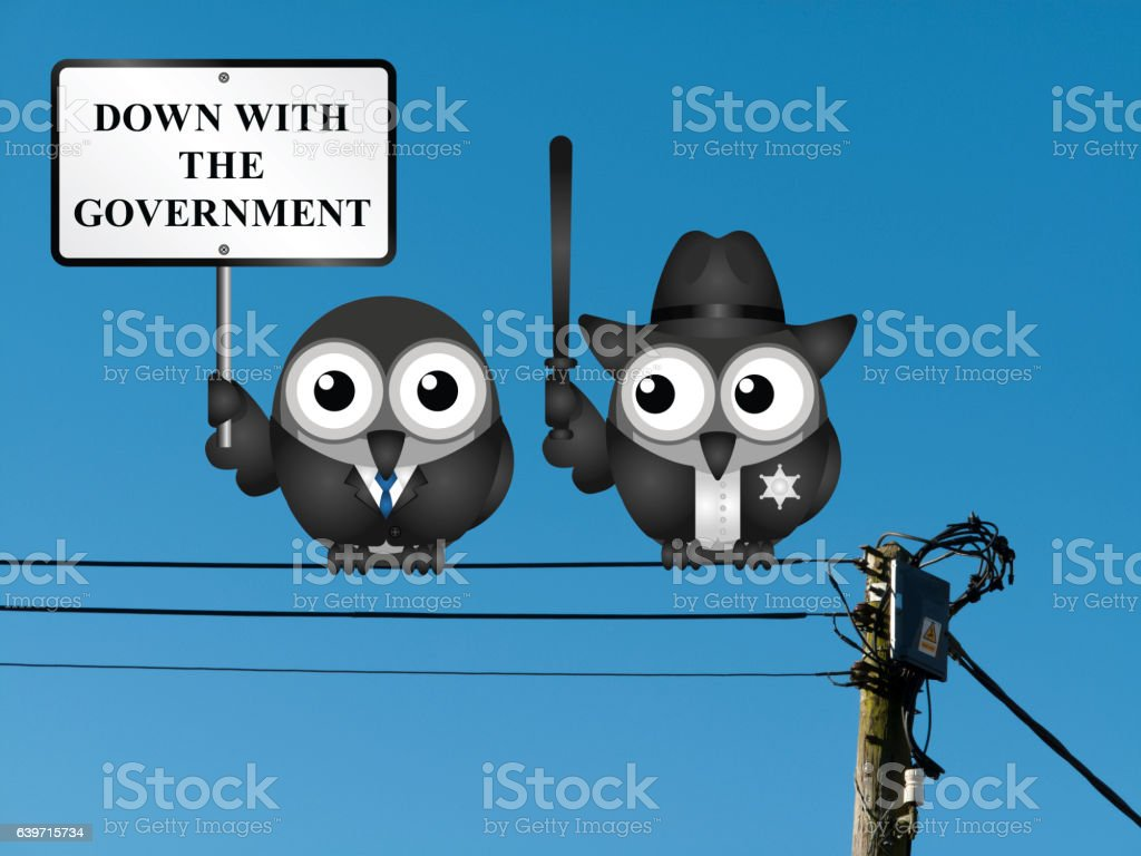Down with the Government vector art illustration