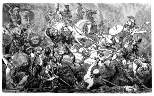 Downfall of the Athenians during the Peloponnesian War vector art illustration