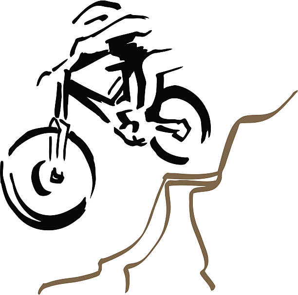 Downhill mountain biker. vector art illustration