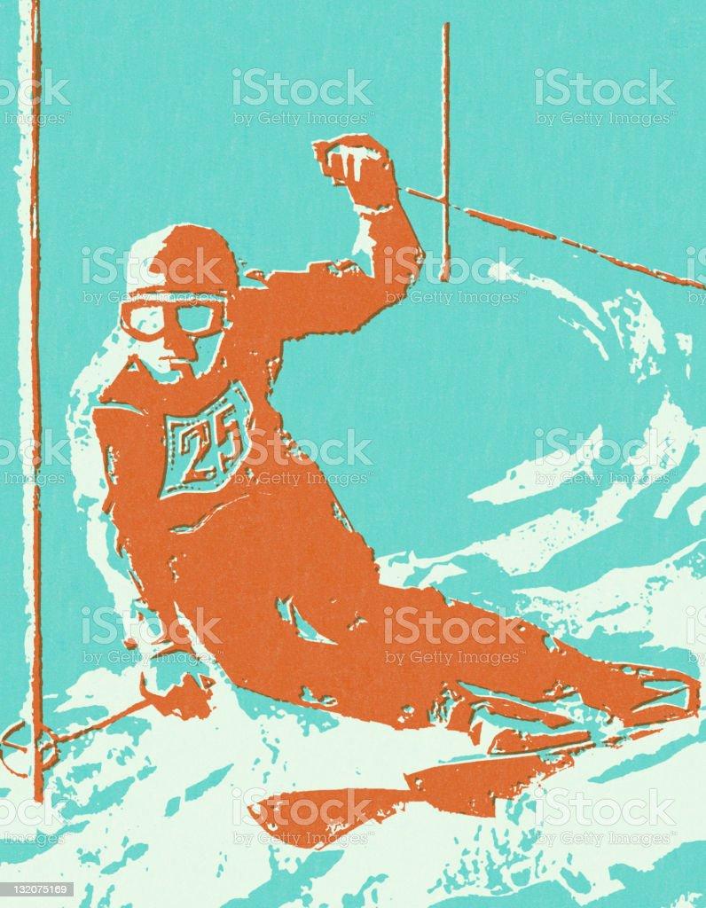 Downhill Skier royalty-free stock vector art