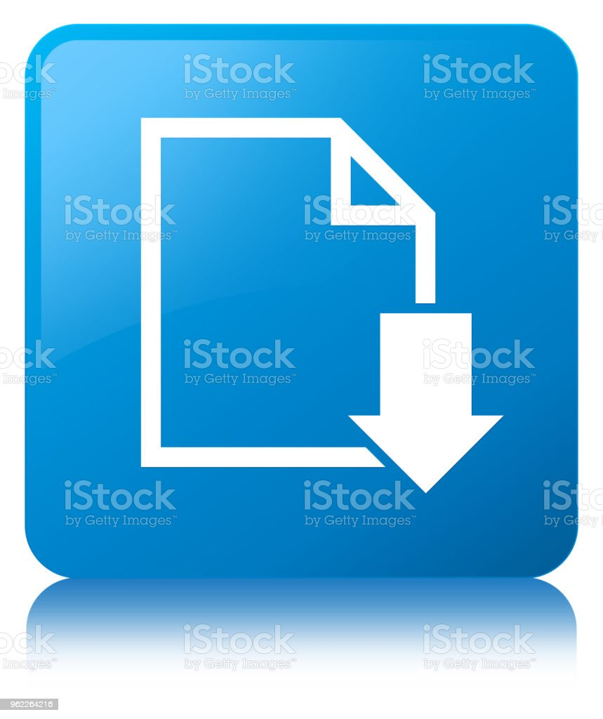 Download document icon cyan blue square button vector art illustration