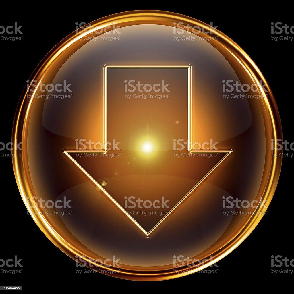 Scarica icona, dorata isolato su sfondo nero scarica icona dorata isolato su sfondo nero - immagini vettoriali stock e altre immagini di andare giù royalty-free