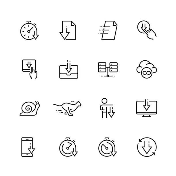 stockillustraties, clipart, cartoons en iconen met vector pictogrammenset in dunne lijnstijl downloaden - langzaam