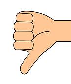 A downward thumb