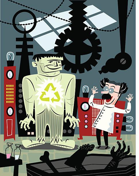 dr. frankenstein recycelt - frankenstein stock-grafiken, -clipart, -cartoons und -symbole