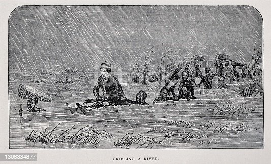 African natives hoist Dr. David Livingston, who is ill with malaria, above the high water as the Africans carry expedition supplies across a deep river in 1871.  Illustration published 1891. Source: Original edition is from my own archives. Copyright has expired and is in Public Domain.