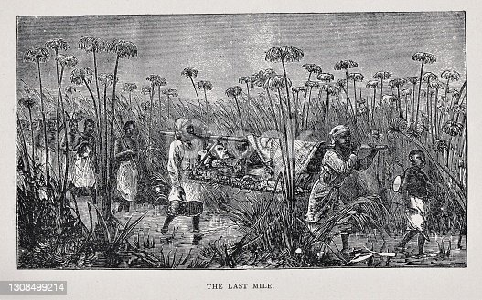 Feverish, Dr. David Livingston is carried by Africans on a litter during the end of his journey finding the source of the Nile in 1871. Illustration published 1891. Source: Original edition is from my own archives. Copyright has expired and is in Public Domain.