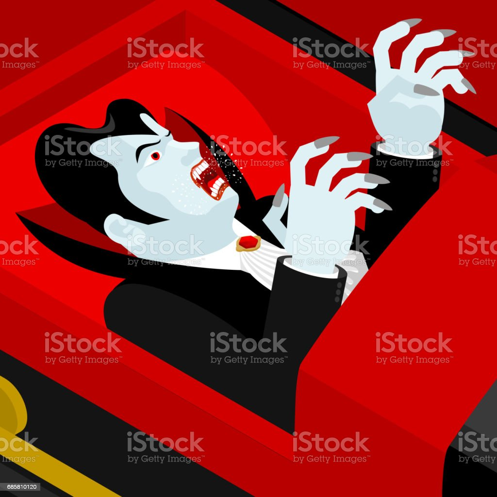 Dracula in coffin. Vampire Count in an open coffin. Ghoul in casket. Retro monster vector art illustration