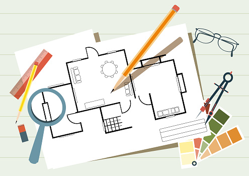 Drafting concept. Engineering and architecture background. Architectural materials, measuring tools and blueprints. Home renovation project and interior design.