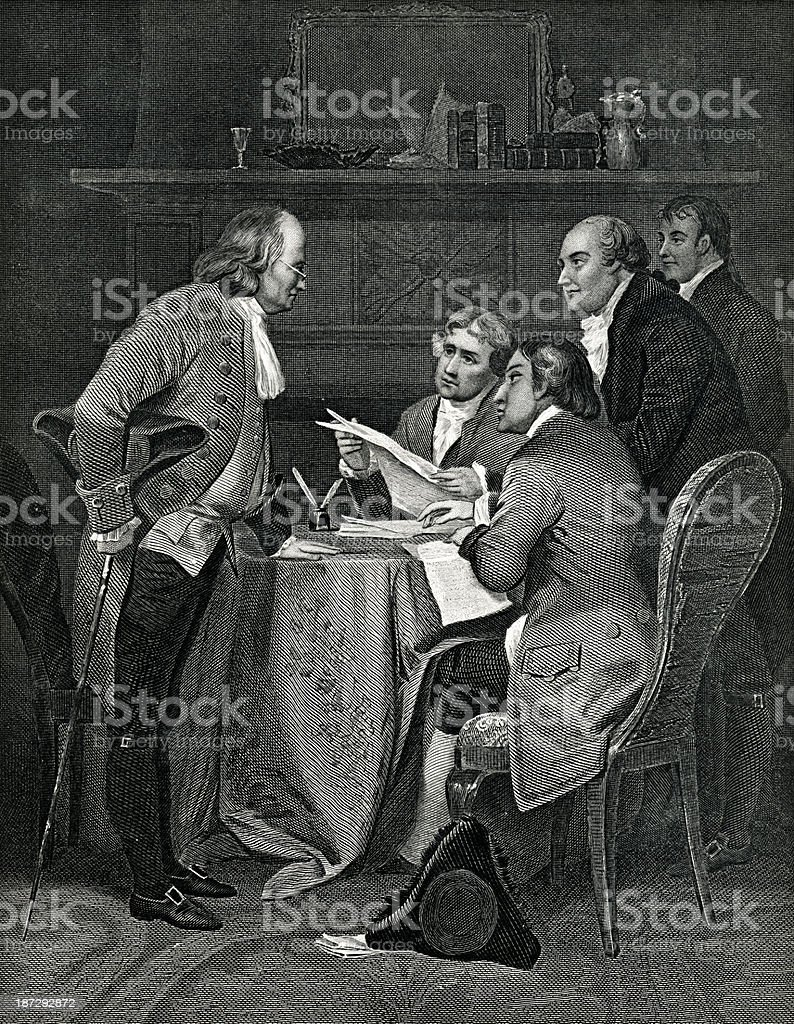 Drafting The Declaration Of Independence royalty-free stock vector art