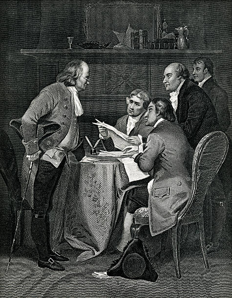 Drafting The Declaration Of Independence Engraving From 1869 Featuring Benjamin Franklin Thomas Jefferson, John Adams, Livingston, and Sherman Drafting The Declaration Of Independence. declaration of independence stock illustrations