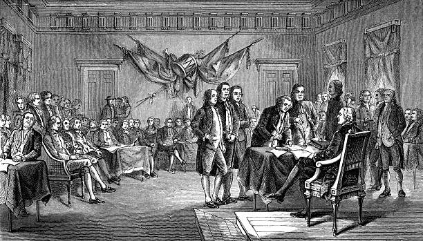 stockillustraties, clipart, cartoons en iconen met drafting the declaration of independence in antique illustration - 18e eeuwse stijl
