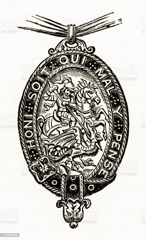 Dragon And Dragonslayer Christian Symbolism Engraving Stock Vector