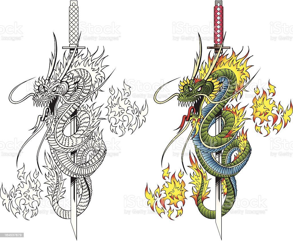 Dragon y espada - ilustración de arte vectorial