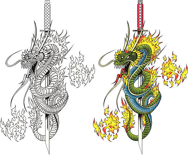 illustrations, cliparts, dessins animés et icônes de dragon et épées - tatouages dragons