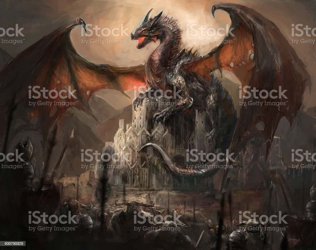 Dragon castle vector art illustration