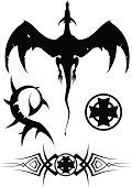 """""""vector dragon, cross & ornament"""""""