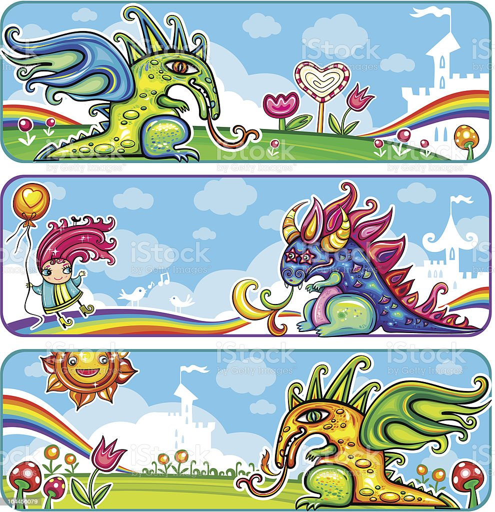 Dragon fairy banners royalty-free stock vector art