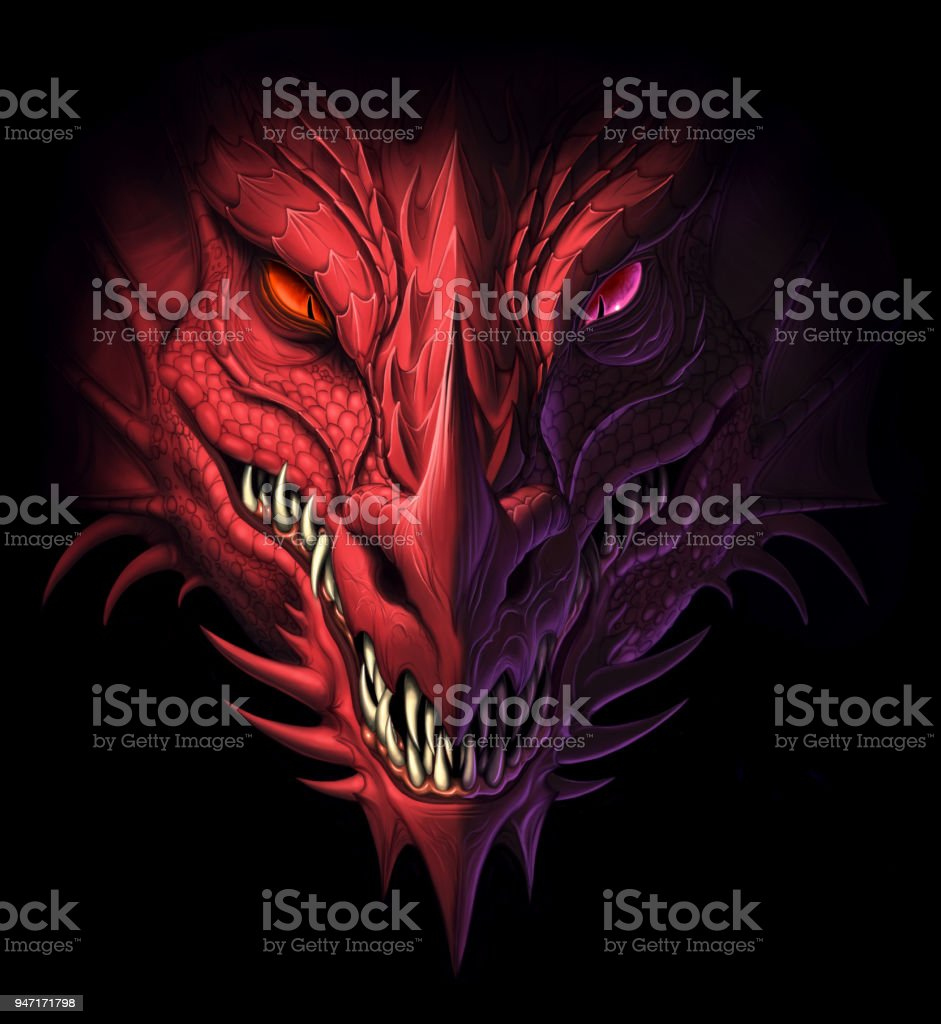Dragon head in darkness vector art illustration
