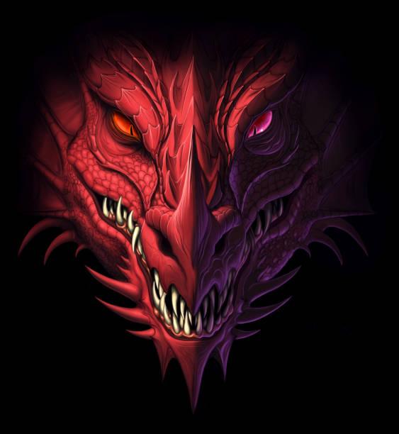 illustrations, cliparts, dessins animés et icônes de tête de dragon dans l'obscurité - dragon