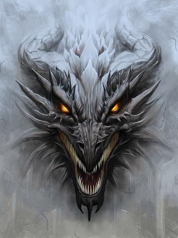 Dragon head on stone background