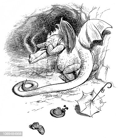 Dragon is crying after he has eaten a man - 1896