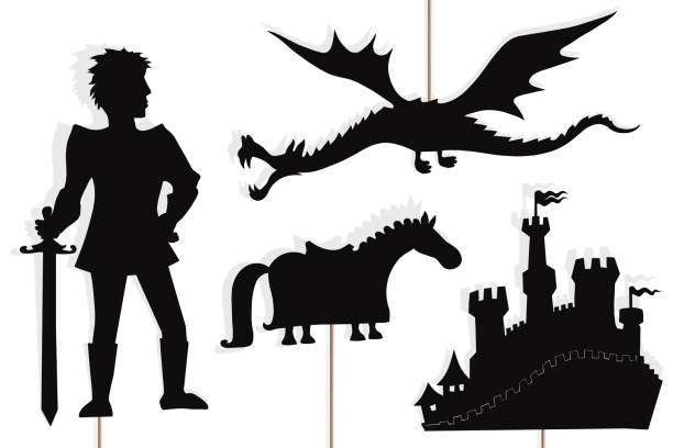 6ed72d802afed Dragon, knight, castle and horse shadow puppets. vector art illustration
