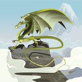 """""""Elemental green dragon of the clouds, perched on a mountainous rock above the clouds. Fantasy vector illustration with hi-res .jpg."""""""