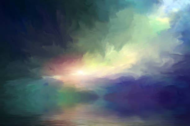 dramatic clouds reflected in the water vector art illustration