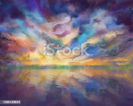 istock dramatic clouds reflected in the water, painting 1066439634