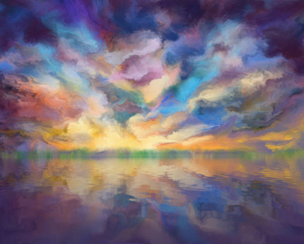 dramatic clouds reflected in the water, painting dramatic clouds reflected in water, digital painting atmospheric mood stock illustrations