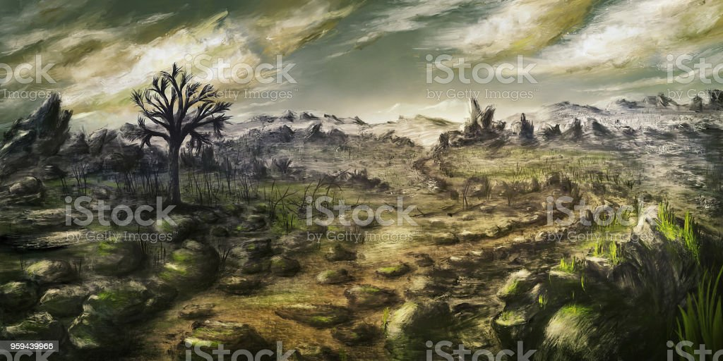 Dramatic environment scenery - Digital Painting vector art illustration