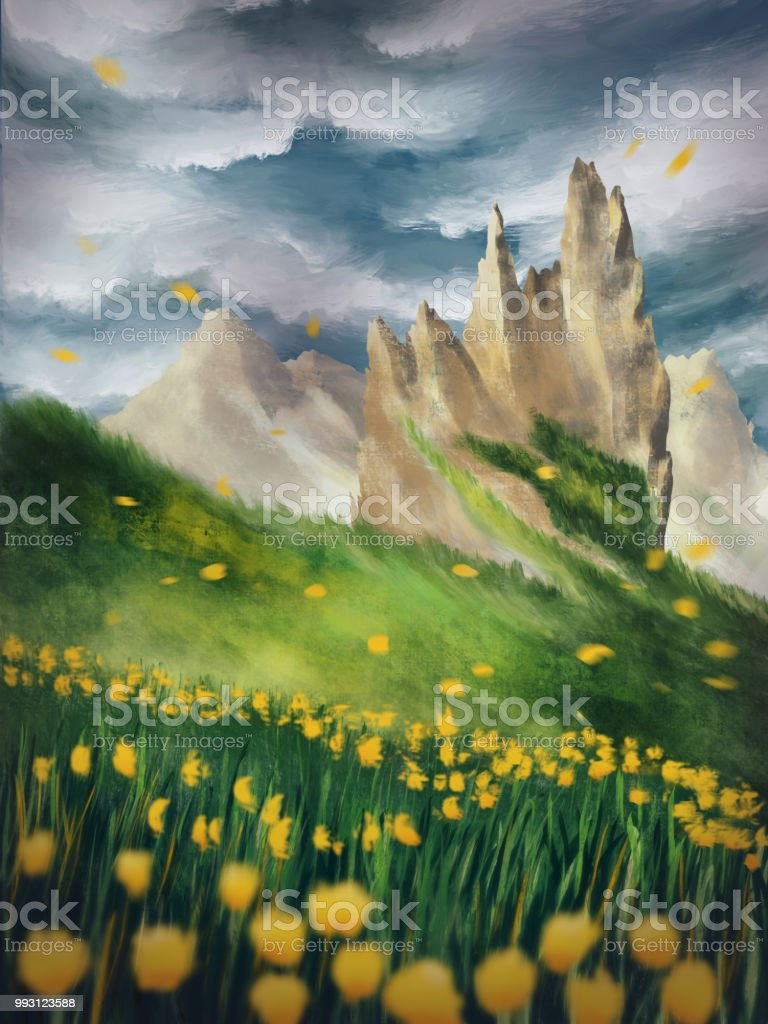 Dramatic Environment Scenery In The Mountains With Yellow Flowers