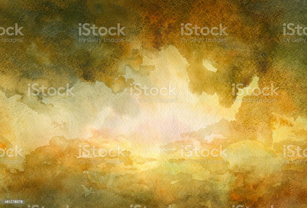 Dramatic Sky - watercolor background vector art illustration